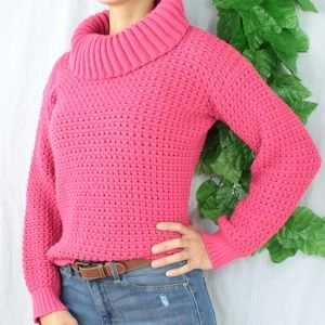 Sweaters - Vintage Warm Cozy Pink Cowl Neck Knitted Sweater